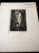 ANTIQUE UNFRAMED + MOUNT ETCHING MONOCHROME PRINT SIGNED G HUARDEL-BLY EDINBURGH